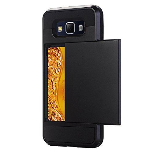 Galaxy A7 Coque,EVERGREENBUYING [Slider Series] Ultra Slim léger 2 en 1 SM-A7000 Cases [Porte coulissante semi-automatique][Housse de Protection] [Fente pour Carte] Cover Pour Samsung GALAXY A7 (2015) Noir