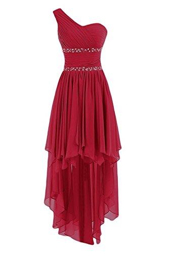 Fanciest Damen Crystal Abendkleider Ballkleid 2016 Kurz Brautjungfernkleid Dark Red