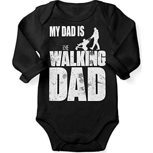 Mikalino Babybody mit Spruch für Jungen Mädchen Unisex Langarm My Dad is The Walking Dad | handbedruckt in Deutschland | Handmade with Love, Farbe:schwarz, Grösse:74