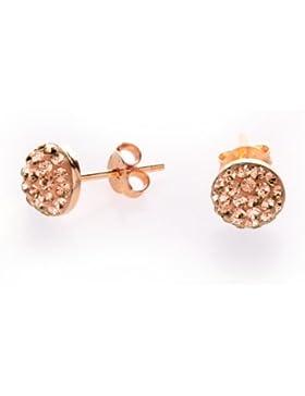 Karisma Damen Ohrstecker Halbkugel - Silber 925 Rosé Gold beschichtet mit Swarovski Elements - 1047ERG1.CZ -7mm