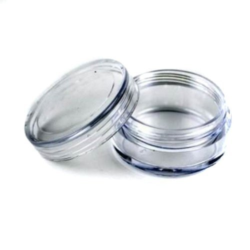 (50) New Empty Clear Plastic Cosmetic Containers 5 Gram Size Jars Pot Eyshadow Container Lot Size: Diameter: 1 1/4 inch X Height: 3/4 inch. (Comes With 1 Free Myo Eyeshadow Sample) by Myo