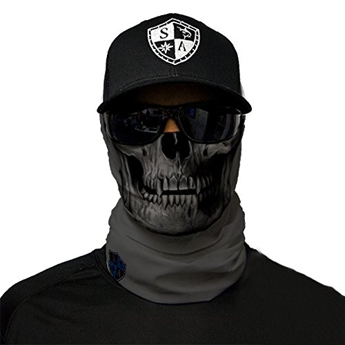 SA Company Écharpe-tube/foulard/bandana/masque polyvalent Plus de 40motifs disponibles En tissu Indice de protection solaire 40, Gris/motifs têtes de mort