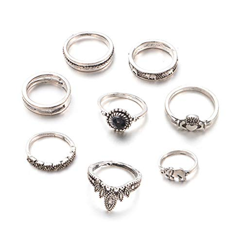 VWH  Vintage Frauen Mitte Ring Set Blume Strass Joint Knuckle Nail Ring Set