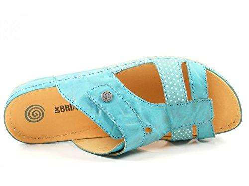 Dr. Brinkmann 701032 Schuhe Damen Pantoletten Clogs Leder Blau