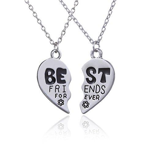 *2Silber Legierung BBF Best Friends Forever Broken Heart Split Anhänger Halskette Set Frauen Herren Geschenk*