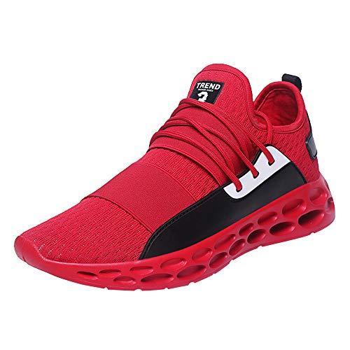 JiaMeng Zapatillas Running para Hombre Aire Libre y Deporte Transpirables Casual Zapatillas de Tenis Casuales, Ligeras y Transpirables con Cordones Zapatillas de Deporte(Rojo, EU45=CN46)
