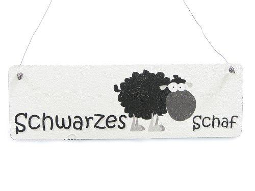 Vintage Deko Schild Türschild SHABBY SHEEPS SCHWARZES SCHAF witziges Holzschild