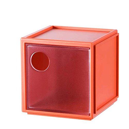 Dosige 1pcs Schmuckkästchen Schubladenbox Schminke Aufbewahrungsbox Allzweckkiste für Make Up und Schmuck 8*7.8*8cm (Rot)