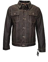 Men's TRUCKER 1280 Skipper Brown Real Hide Leather Western Style Jacket