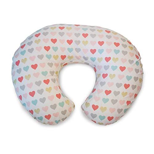 Chicco 08079902490000 BOPPY - Cuscino per allattamento con rivestimento in cotone, motivo: cuori, colore: Rosa