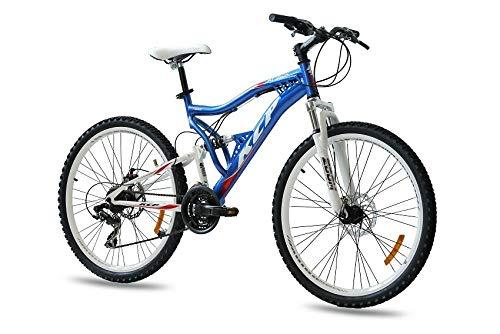 KCP 26 Zoll Mountainbike Fahrrad - MTB Attack blau Weiss - Vollfederung Mountain Bike Unisex für Herren, Damen oder Jungen, MTB Fully mit 21 Gang Shimano Schaltung und Zwei Scheibenbremsen