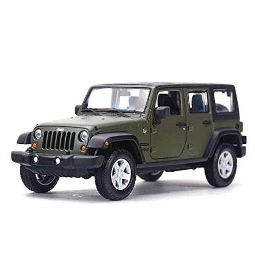Automodell, 1:24 Verhältnis Wrangler Alloy Die-Cast-Modell Tür kann geöffnet werden (Color : Green, Size : 19.5 * 8 * 7.7CM)