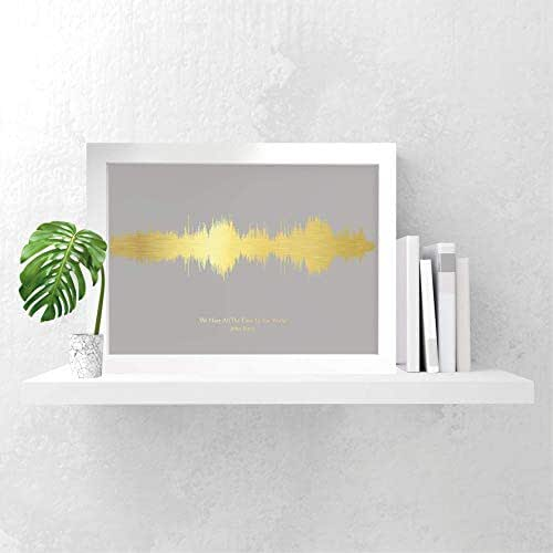 Personalised favourite song print gift sound waves gold silver copper foil, any song, any colour scheme