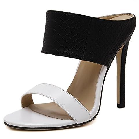 Femmes Dames Nouveau Stiletto Talon Sandales Chaussons Chaussures Serpentine Peep Toe Noir Blanc Lutte Couleur Printemps Eté Party Nightclub Dressy , black , EUR 37/ UK 4.5-5