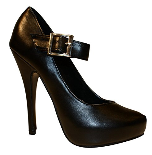 Erogance Kunstleder Plateau High Heels, Scarpe con plateau donna Nero (nero)