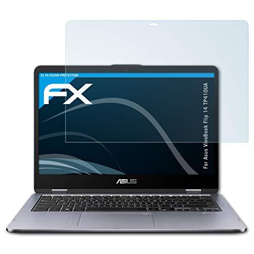 atFolix Schutzfolie kompatibel mit Asus VivoBook Flip 14 TP410UA Folie, ultraklare FX Bildschirmschutzfolie (2X)