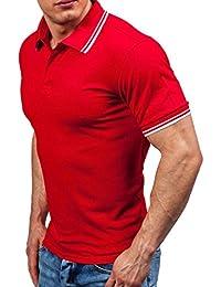 Lenfesh Ropa de Hombre, Polo de Manga Corta de Abotonadas Para Hombre Camisa Casual Moda Trabajo