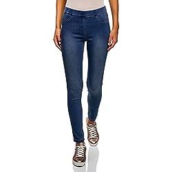 oodji Ultra Mujer Vaqueros Leggings, Azul, 26W / 32L (ES 36 / XS)