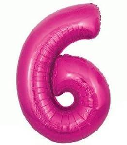 Oaktree UK 603264 Globo gigante con número 6, rosa, 30 pulgadas