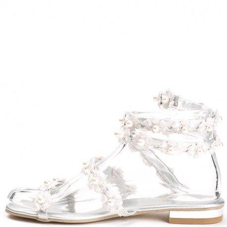 Ideal Shoes - Sandales style spartiates décorées de fleurs en dentelle et perles Sofia Argent