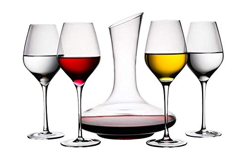 HOMIES, Crystal Glass Decanter Wine Goblet Red Wine Cup Set 5 Piece Gift Box