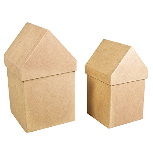 Rayher Pappmaché Boxen Häuser, 2 Stück: 13,3x13,3x23cm Plus 11,5x11,5x20cm, Natur, 13.3 x 13.3 x 23 cm (Pappmaché-boxen)