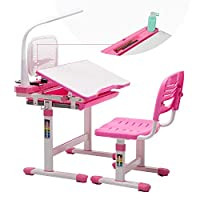 mecor Kids Study Desk with Lamp, Height Adjustable Kids Student School Study Table Work Station with Storage, Pink