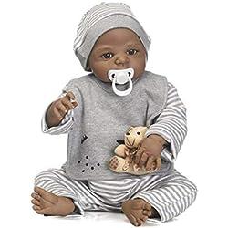Poupée Nicery Reborn - Style indien, à peau noire - Poupée réaliste de 48 à 55cm en silicone - Pour enfants (filles et garçons) - Avec costumes de Thanksgiving, Noël