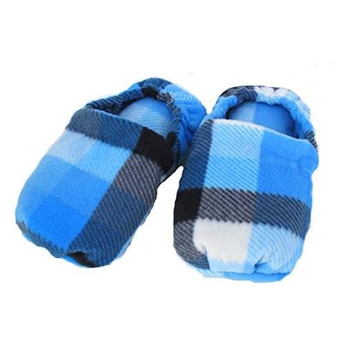 Wärmende Hausschuhe Kirschkernkissen Fußwärmer Massage Fußbett blau Schottenkaro-hergestellt in Emilia Romagna