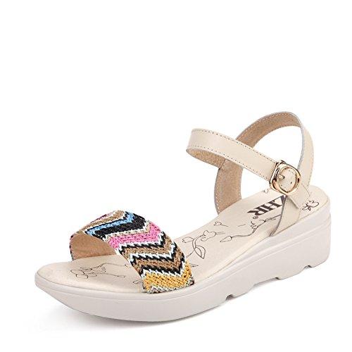 Sandales compensées de femmes étudiant d'été/Éolienne nationale casual chaussures femme/Bohèmes Sandales avec des semelles épaisses B
