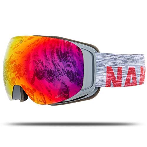 NAKED Optics Skibrille Snowboard Brille für Damen und Herren - Verspiegelt mit Magnet-Wechselsystem - Ski Goggles for Men and Women (Melange, ohne Schlechtwetterglas)