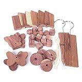 woodluv 30 natürliche Bio Kleidermottenabwehr Zedernholz Kugelblock Set für Schränke und Schubladen (chemikalienfrei)