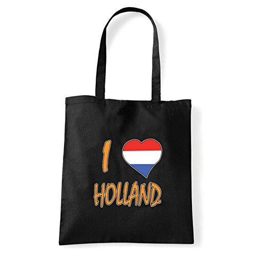 Art T-shirt, Borsa Shoulder I Love Holland, Shopper, Mare Nero