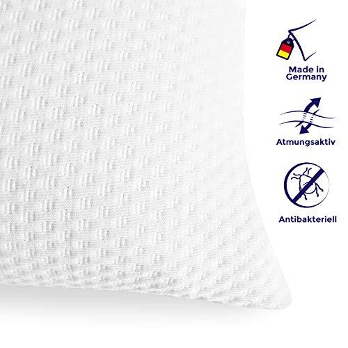 Mister Sandman orthopädisches Kissen und Nackenkissen - Atmungsaktives Kopfkissen aus Viscoschaum Kopfkissen mit Doppeltuch Bezug - Jede Nacht Besser schlafen (40 x 80cm, weiß)