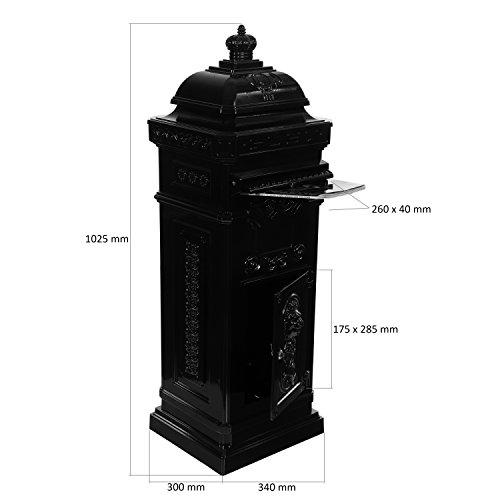Maxstore Antiker englischer Standbriefkasten, rostfreies Aluminium, Höhe: 102,5 cm, Farbe: Anthrazit, 3 Jahre Garantie anthrazit - 3