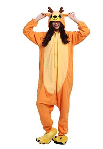 Schwanz Kostüm Deer - Unisex Pyjama/Schlafanzug/Einteiler, Tiermotiv, für Halloween, Cosplay-Kostüm Gr. Large, Sika Deer