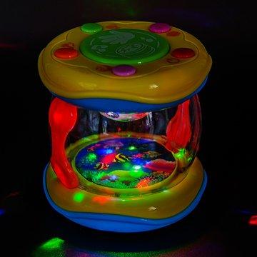 PALESTRAKI Baby Trommel mit Licht und Sound. Meerestrommel in handlicher Dimension für unterwegs. Reisespiel fürs Auto. Babyspielzeug für die Kleinsten