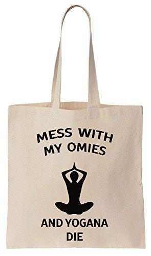 Mess With My Omies And Yogana Die Cotton Canvas Tote Bag Baumwollsegeltuch-Einkaufstasche