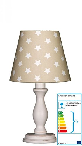 Tischlampe Sterne beige/weiß klein