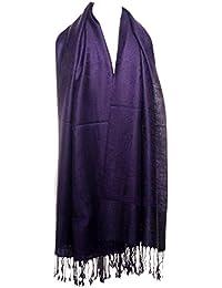 Ladies Womens Large Luxury Paisley Design 50% Silk Jacquard Scarf, Pashmina, Shawl or Wrap with Tassels