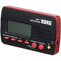Korg MA-1BKRD - Metrónomo compacto (C4 - B4, 1 a 9 tiempos), color negro y rojo