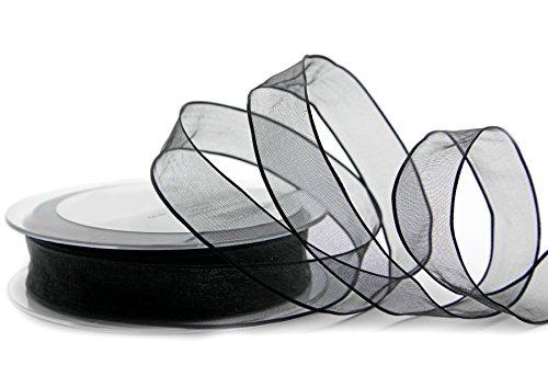 Dekoband CHIFFON SCHWARZ 3 m x 25 mm Geschenkband Schleifenband transparent Organza mit Kanten Premium Qualität Hochzeit Geburtstag Drahtkantenband von FINEMARK