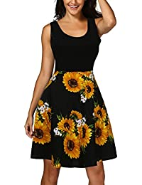 Vestido de mujer- SHOBDW Vintage escote redondo mini vestido sin mangas A-line cóctel