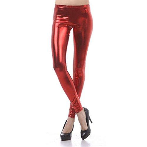 Frauen Metallic Drucken Leggings Glänzende Strecken Rot Leggins M