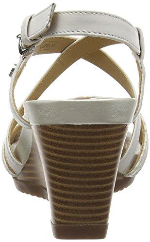 Geox New Rorie D, sandale  Compensées femme Blanc (C1002)