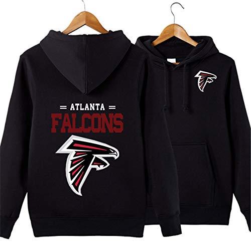 SZRXKJ Männer mit Kapuze Langarm Buchstaben drucken Atlanta Falcons Football Team Pullover Hoodies(XXL,schwarz)