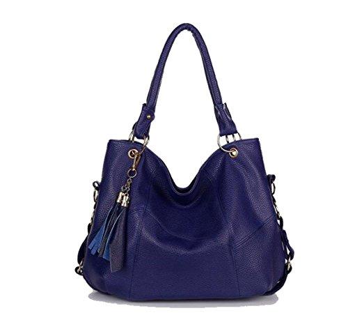 Womens Handtaschen Damen Designer Schultertasche PU Leder Fächer Tote New Style Large Blue