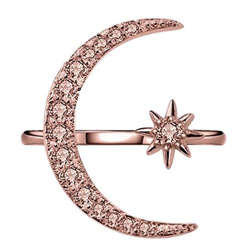 Plot Schmuck für Frauen Verstellbar Open Einfach Sterne und Mond Ring für Damen und Mädchen Rose Gold, Silber, Gold