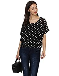 Monte Carlo Black Printed Round Neck Top