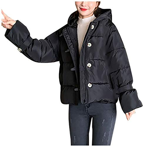 WFRAU Damen Langarm Daunenmantel Feste Candy Farbe Kapuzenjacke Damen Baumwolle Woll Kurz Lässig Mantel Winter Skifahren Oberbekleidung Winddicht Regenmantel